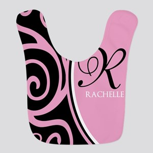Elegant Black Pink Swirls Monogram Bib