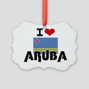 I HEART ARUBA FLAG Picture Ornament