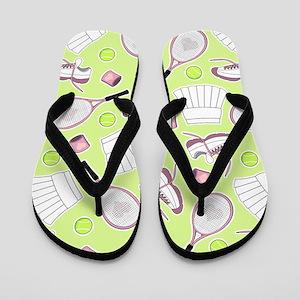 Tennis Love Pattern Green Flip Flops