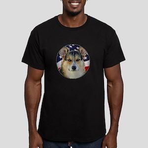 Corgi with American Fl Men's Fitted T-Shirt (dark)