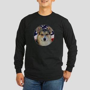 Corgi with American Flag Long Sleeve Dark T-Shirt