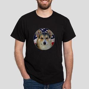 Corgi with American Flag Dark T-Shirt