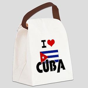 I HEART CUBA FLAG Canvas Lunch Bag