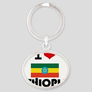 I HEART ETHIOPIA FLAG Oval Keychain