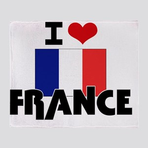 I HEART FRANCE FLAG Throw Blanket