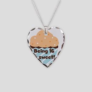 Cupcake Sweet 16 Birthday Necklace Heart Charm