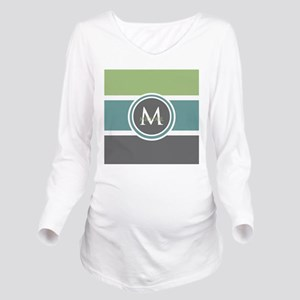 Elegant Modern Monogram Long Sleeve Maternity T-Sh