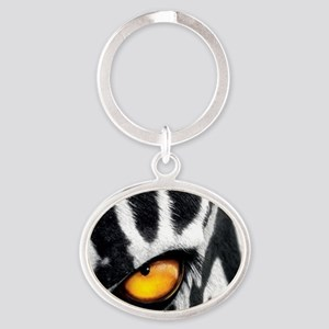 Black and White Heart Oval Keychain