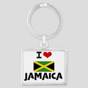 I HEART JAMAICA FLAG Landscape Keychain