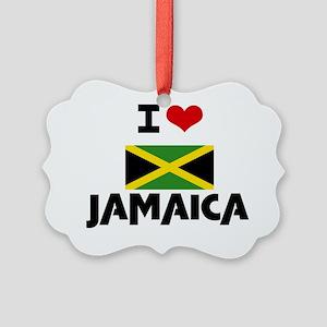 I HEART JAMAICA FLAG Picture Ornament