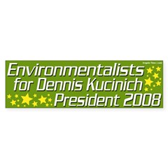Environmentalists for Kucinich 2008 Bumper Sticker