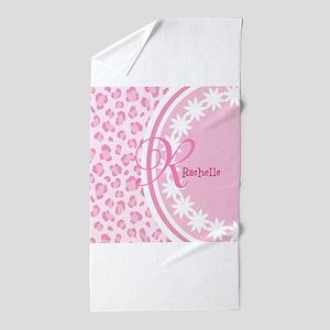 Stylish Pink and White Monogram Beach Towel