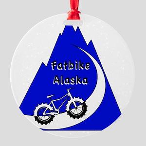 Fatbike Alaska Mountain logo Round Ornament