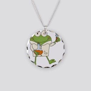 Frog Scientist Necklace Circle Charm