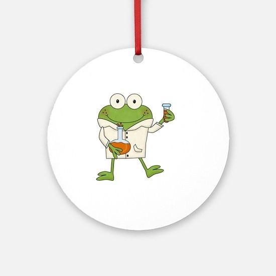 Frog Scientist Round Ornament