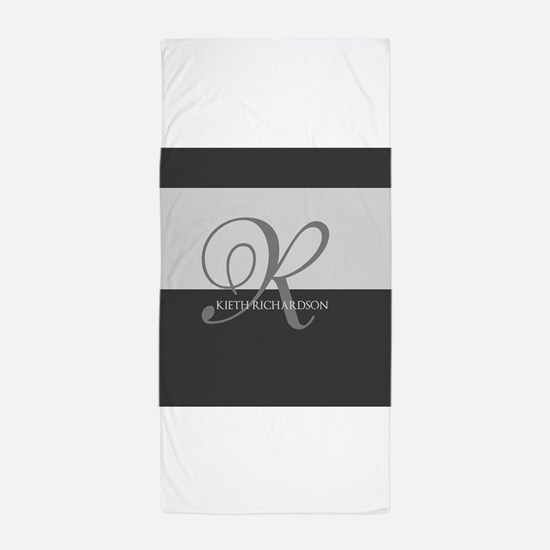 Elegant Custom Monogram Beach Towel