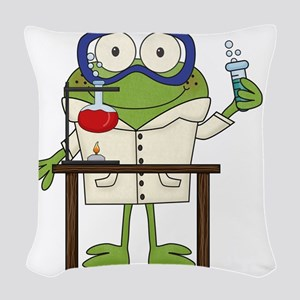 Frog in Science Lab Woven Throw Pillow