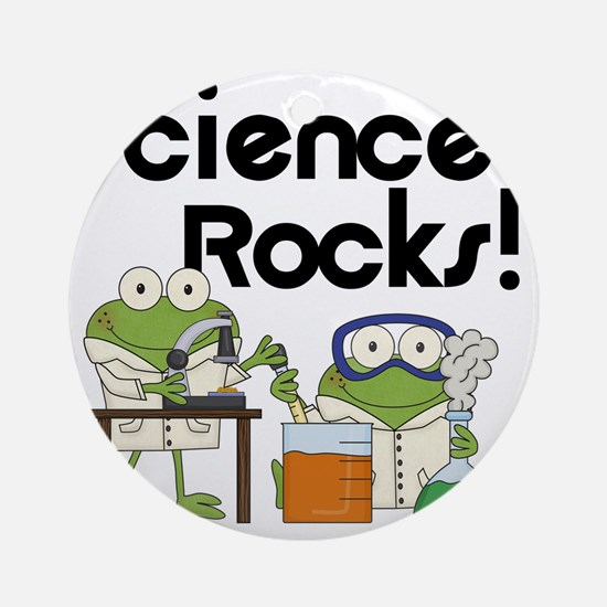 Frogs Science Rocks Round Ornament