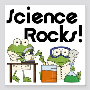 "Frogs Science Rocks Square Car Magnet 3"" x 3"""