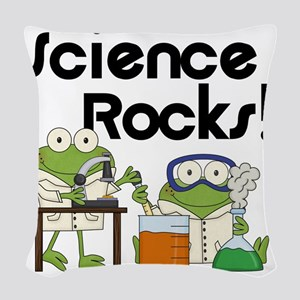 Frogs Science Rocks Woven Throw Pillow