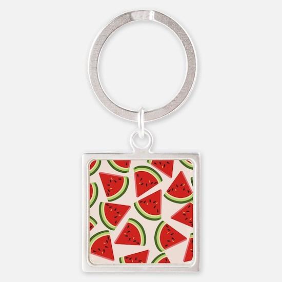 Watermelon Pattern Flip Flops Square Keychain
