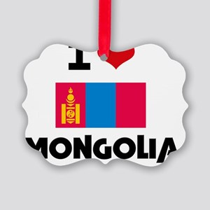 I HEART MONGOLIA FLAG Picture Ornament