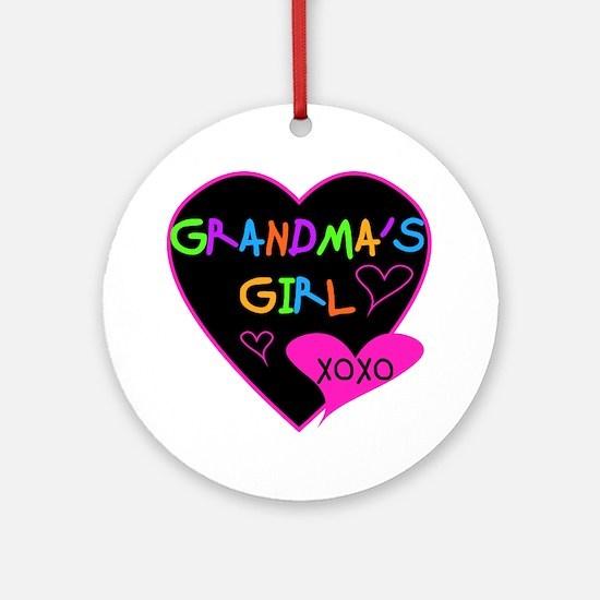 Heart Grandma's Girl Round Ornament