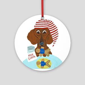 Dachshund Guarding Santa's Cookies Ornament (Round