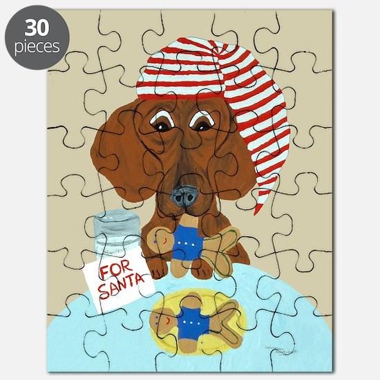 Dachshund Guarding Santa's Cookies Puzzle
