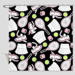 Tennis Love Pattern Black Shower Curtain