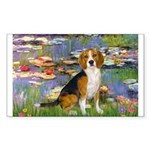 Lilies (#2) - Beagle #7 Sticker (Rectangle)