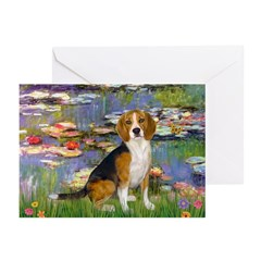 Lilies (#2) - Beagle #7 Greeting Cards (Pk of 10)