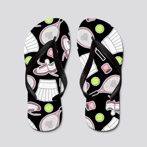 Tennis Love Pattern Black Flip Flops