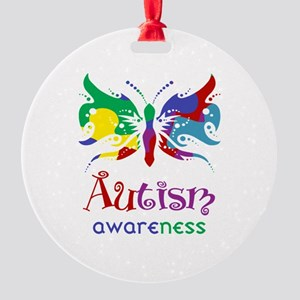 Autism Awareness Butterfly Round Ornament