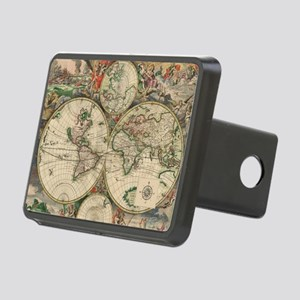 Antique Old World Map Rectangular Hitch Cover