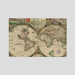 Antique Old World Map Rectangle Magnet