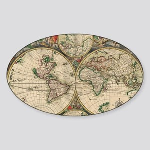 Antique Old World Map Sticker (Oval)