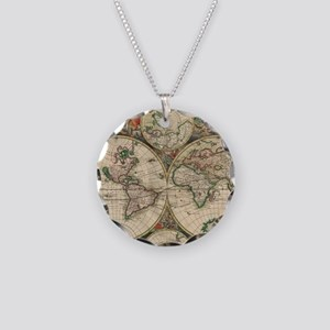Antique Old World Map Necklace Circle Charm