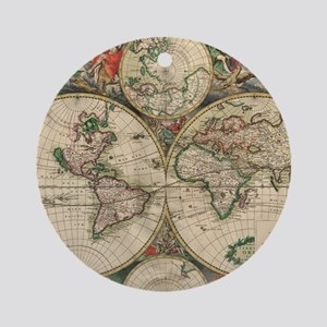 Antique Old World Map Round Ornament