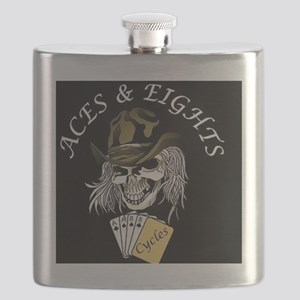 Aces and Eights Cycles Logo Flask
