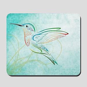 Aqua Hummingbird Watercolor Mousepad
