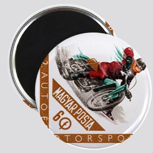1962 Hungary Motorcycle Ice Racing Postage  Magnet