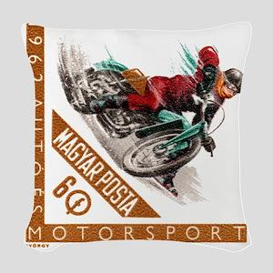 1962 Hungary Motorcycle Ice Ra Woven Throw Pillow