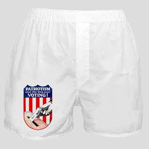 PATRIOTISM MEANS VOTING Boxer Shorts