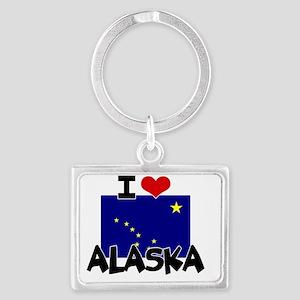 I HEART ALASKA FLAG Landscape Keychain