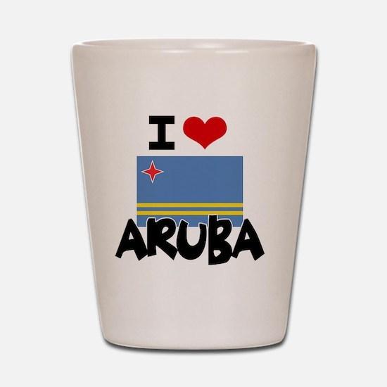I HEART ARUBA FLAG Shot Glass