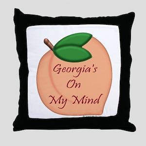 Georgia Minded Peach Throw Pillow