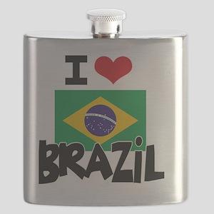 I HEART BRAZIL FLAG Flask