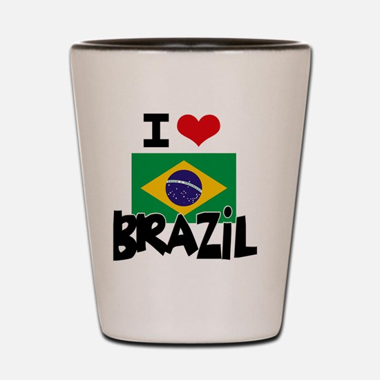 I HEART BRAZIL FLAG Shot Glass