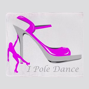 I Pole Dance Hot Pink Throw Blanket